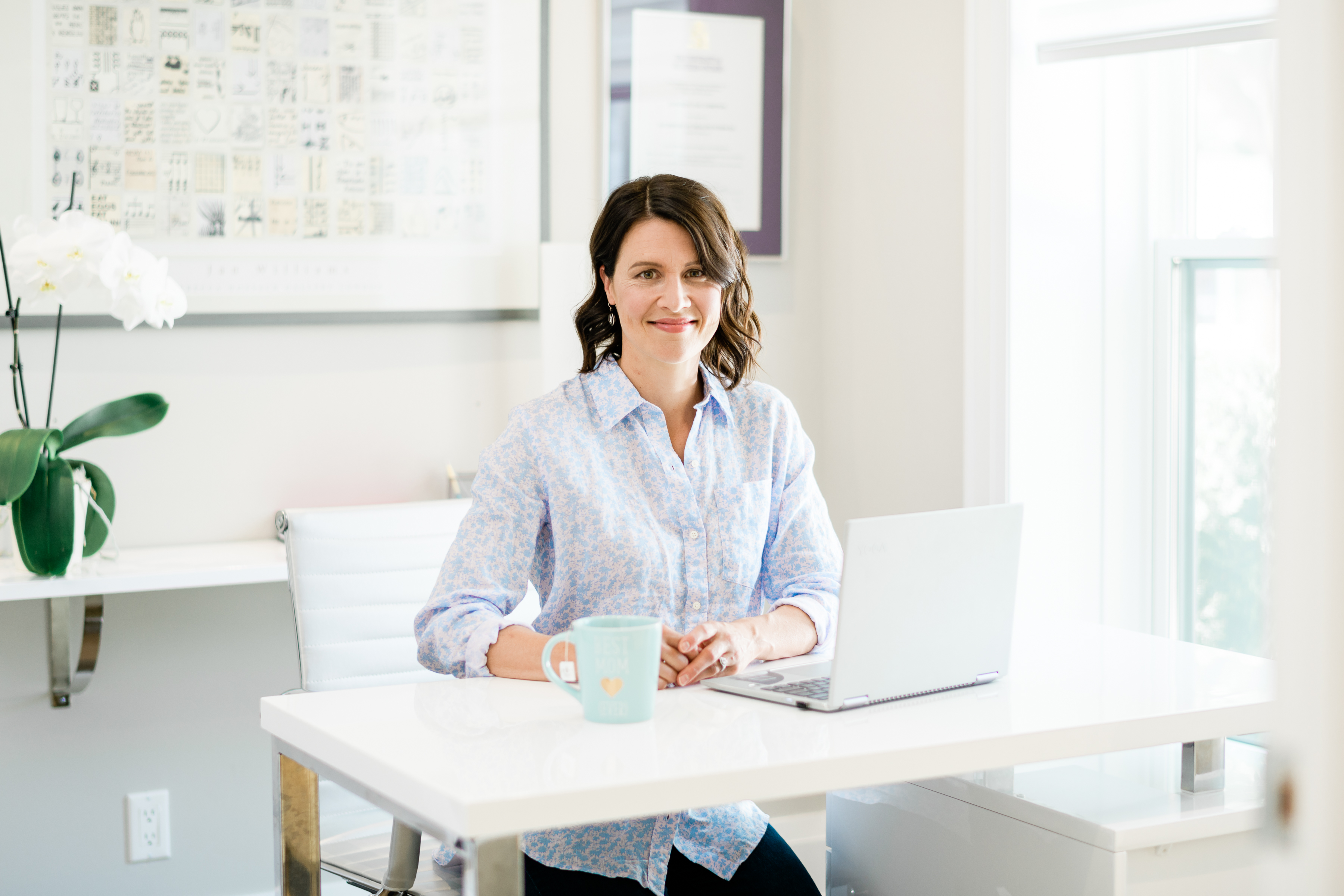 Katie at computer